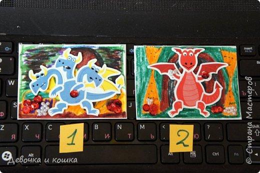 """Здравствуйте.  Я сделала эти АТСки """"Драконы"""". Вот они все. Фон я нарисовала фломастерами. Бусинки я приклеила клеевой ручкой, это как пистолет только помельче.  фото 6"""