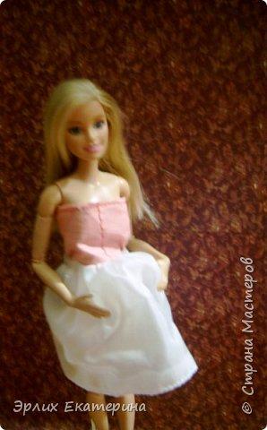 Барби - Китнес  Платье розовое с белым , на липучке  фото 1