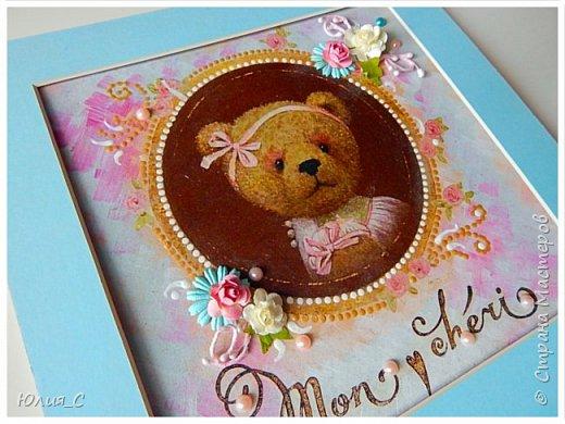 Панно с мишкой для декора детской, декупаж...фон тонировала акрилом, добавила цветы и бусины.. фото 2