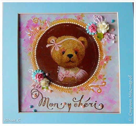Панно с мишкой для декора детской, декупаж...фон тонировала акрилом, добавила цветы и бусины.. фото 1