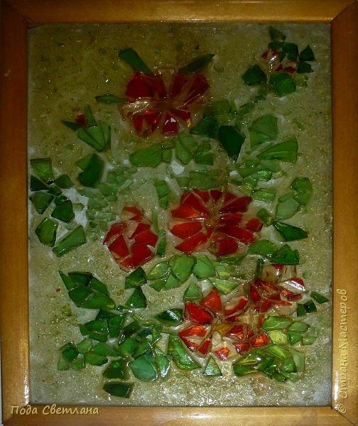 Опять антивкариат!!! Первая мозаика ...Стекло на стекле... С чего мы только начинали!!! Жаль на фото не так выглядят в живую лучше... фото 1