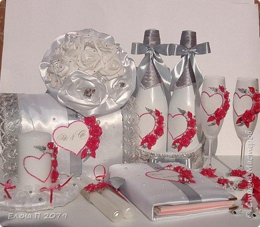 Всем доброго времени суток! Вот такой свадебный наборчик сделала на свадьбу сестре. Свадьба в малиново-серых оттенках. Делала впервые, но думаю все получилось.  Главное, сестра в полном восторге. фото 1