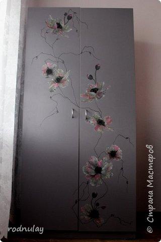 Решила обновить шкаф. Не то чтобы он был старый. Скорее скучный.  Получился вот такой, на  мой вкус - замечательный! фото 1