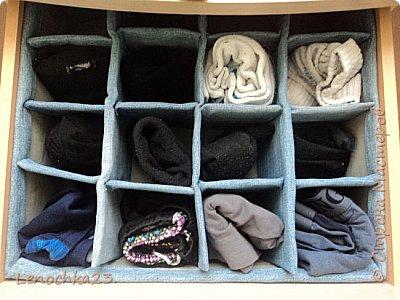 Еще одна попытка навести порядок в ящиках.  Вот такой органайзер для белья я сделала мужу из коробки и старых джинсов, которых скопилось невероятное количество)))