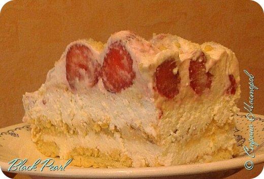 Летний тортик с клубничкой без выпечки фото 1