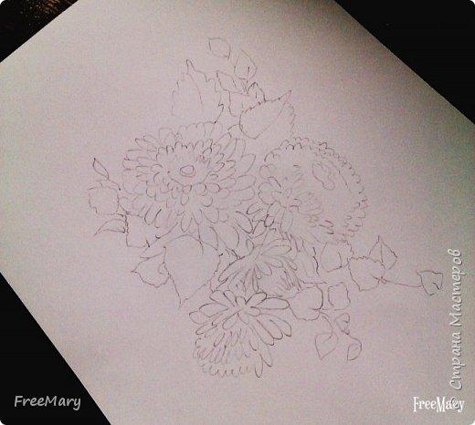 Хризантемы, поэтапный рисунок. На основе гелевой чёрной ручки, акварель и белый маркер.   фото 2