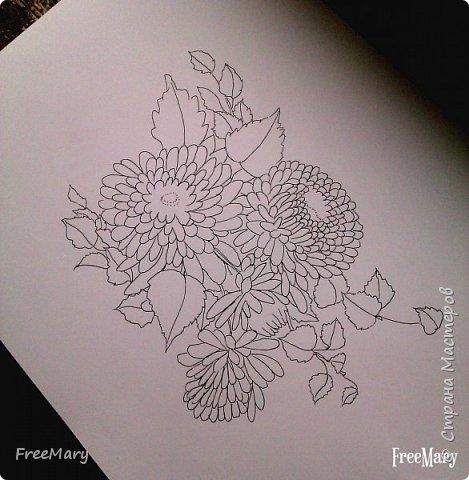 Хризантемы, поэтапный рисунок. На основе гелевой чёрной ручки, акварель и белый маркер.   фото 3