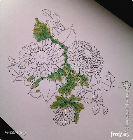 Хризантемы, поэтапный рисунок. На основе гелевой чёрной ручки, акварель и белый маркер.   фото 4