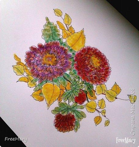 Хризантемы, поэтапный рисунок. На основе гелевой чёрной ручки, акварель и белый маркер.   фото 6