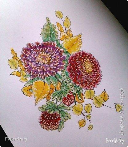 Хризантемы, поэтапный рисунок. На основе гелевой чёрной ручки, акварель и белый маркер.   фото 7