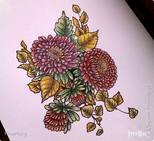 Хризантемы, поэтапный рисунок. На основе гелевой чёрной ручки, акварель и белый маркер.   фото 8