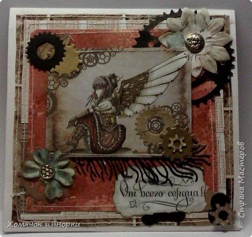 Это самая первая моя открытка в стиле стимпанк...  Некоторые шестеренки вырубки и есть ещё покупные, сделанные из дерева. Это перед... фото 1