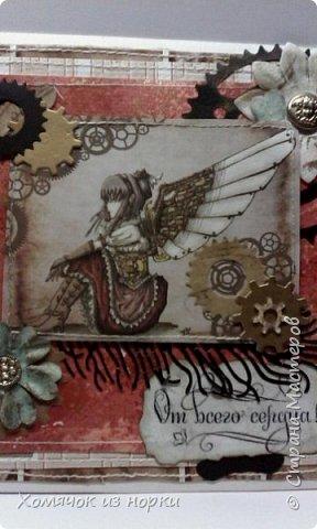 Это самая первая моя открытка в стиле стимпанк...  Некоторые шестеренки вырубки и есть ещё покупные, сделанные из дерева. Это перед... фото 2