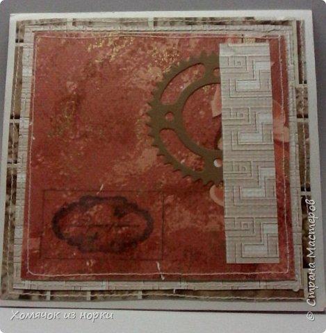Это самая первая моя открытка в стиле стимпанк...  Некоторые шестеренки вырубки и есть ещё покупные, сделанные из дерева. Это перед... фото 4