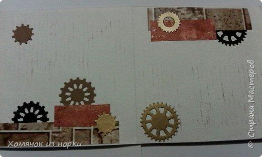 Это самая первая моя открытка в стиле стимпанк...  Некоторые шестеренки вырубки и есть ещё покупные, сделанные из дерева. Это перед... фото 3