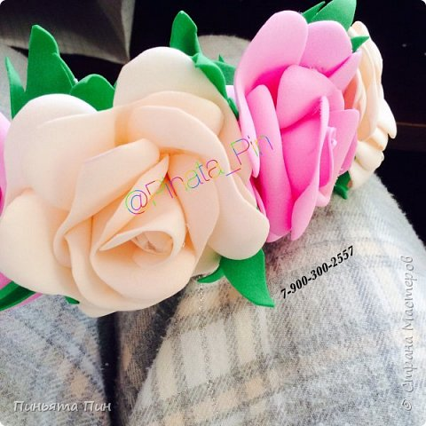 Ободок с цветами из фоамирана  фото 3