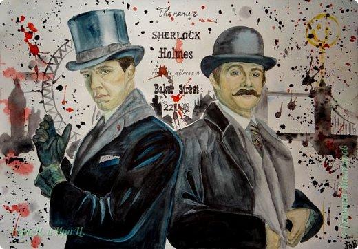 Шерлок Холмс и Доктор Ватсон в исполнении замечательных актеров сериала BBC.  Акварель, А2.  фото 1