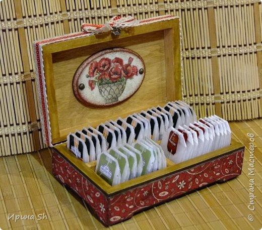 """Вот такую чайную шкатулку я сделала в подарок своей тете, в дополнение к кофейной банке """"Маки"""": https://stranamasterov.ru/node/945844.  фото 6"""