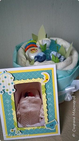 """Вот такой подарок малышу на первый """"юбилей"""" - 1 месяц: """"букет роз"""" + открытка. фото 1"""