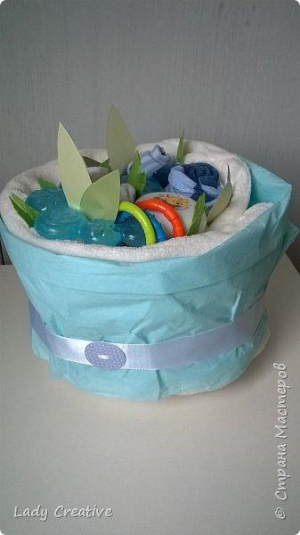 """Вот такой подарок малышу на первый """"юбилей"""" - 1 месяц: """"букет роз"""" + открытка. фото 4"""