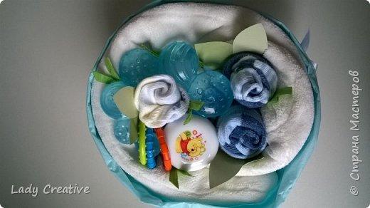 """Вот такой подарок малышу на первый """"юбилей"""" - 1 месяц: """"букет роз"""" + открытка. фото 3"""