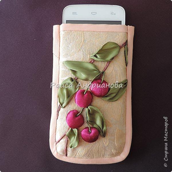 Понадобится: лента вишневого цвета (5см) для ягод , лента зеленого цвета ( 2,5см и 0,6см) для листьев и черешков , нитки мулине для веточек. фото 11
