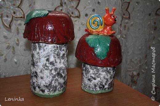 Вот такие грибочки у меня получились по мастер классу (http://samayamk.ru/podelki-iz-gipsa/sadovye-gribochki-iz-gipsa.html) я просто добавила улитку и листики которые слепила из пластики.  фото 4