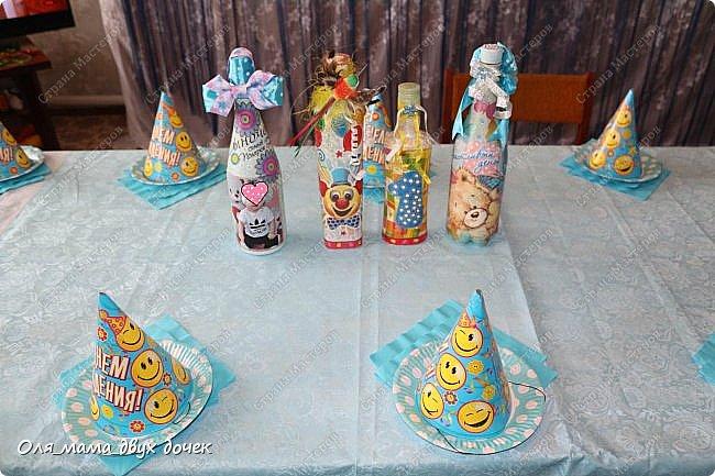 Продолжаю осваивать бутылочную тему.Подвернулось День Рождения и я с большим удовольствием вызвалась нарядить бутылочки. фото 20