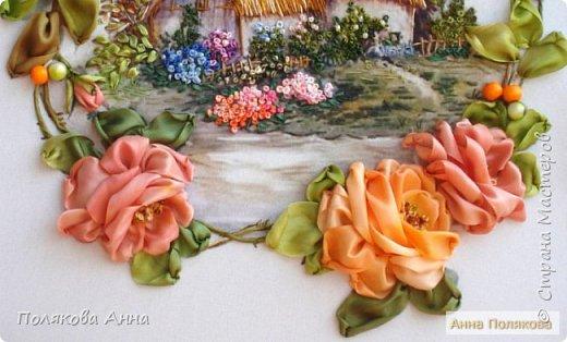 Вышивка на габардине, 25х25см. Розы - ленты мажестик, листва - натуральный шелк. фото 4