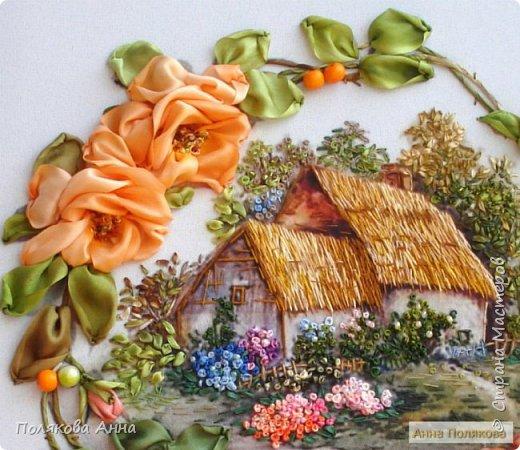 Вышивка на габардине, 25х25см. Розы - ленты мажестик, листва - натуральный шелк. фото 3