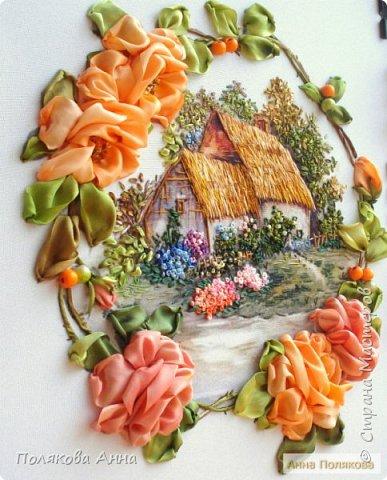 Вышивка на габардине, 25х25см. Розы - ленты мажестик, листва - натуральный шелк. фото 2