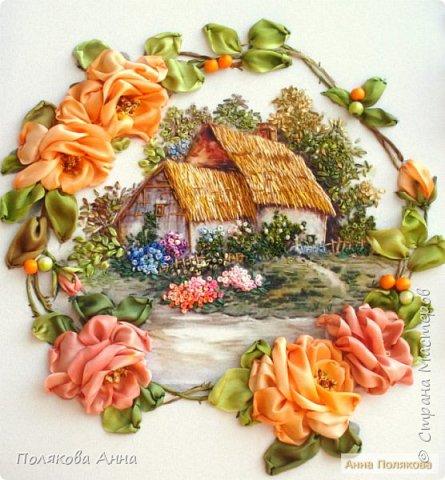 Вышивка на габардине, 25х25см. Розы - ленты мажестик, листва - натуральный шелк. фото 1