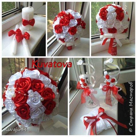 Свадебный набор: букет - дублёр для прекрасной невесты, семейный очаг молодоженам, декор бокалов и подушечка для колец!