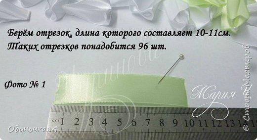 Для изготовления  2х бантов потребуется: 1) лента 2,5см салатного цвета 8,40 м 2) лента 2,5см белого цвета 4,80 м 3) полубусины салатного цвета 48шт 4) полубусины белого цвета 48 шт. 5) горячий клей 6) фетровая основа 4см  фото 2