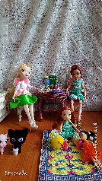 Гертруда, Изабелла и её названная сестра Веснушка устроили чаепитие, правда пили сок. И у меня была возможность их сфотографировать. фото 1