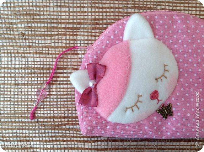 Здравствуйте, дорогие соседи!  Вот такую косметичку сшила в подарок 7-летней принцессе, обожающей кошек.  фото 3