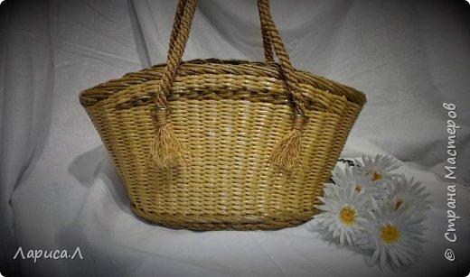 """Сумка """"Африка"""" выполнена в техниках плетения из бумажной лозы и декупаж. Ручки плетеные из шелкового шпагата в 6 нитей.Размеры: низ 27*20 см, верх 39*12 см, высота 21 см. фото 2"""