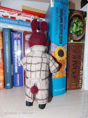 Мне очень понравились игрушки в пальто - Кати Козуненко, решила сделать свою зверушку в одежке, вот такой престарелый, почему то бордовый крол получился: фото 4
