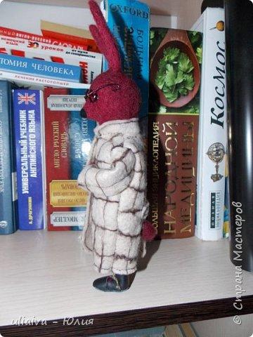 Мне очень понравились игрушки в пальто - Кати Козуненко, решила сделать свою зверушку в одежке, вот такой престарелый, почему то бордовый крол получился: фото 3