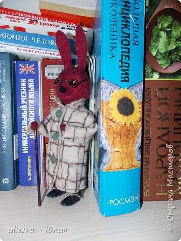 Мне очень понравились игрушки в пальто - Кати Козуненко, решила сделать свою зверушку в одежке, вот такой престарелый, почему то бордовый крол получился: фото 2