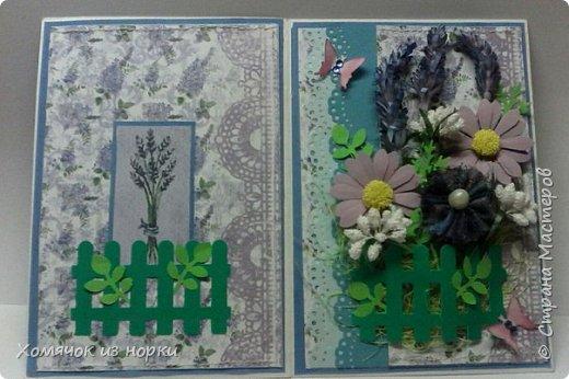 """Лидия Леонидовна (ЛиЛеКа http://stranamasterov.ru/user/7275 ) предложила сделать открытку в стиле """"Прованс"""". Ну и конечно мне захотелось её сделать..... И вот получилась такая нежная и очень красивая открыточка...  фото 4"""