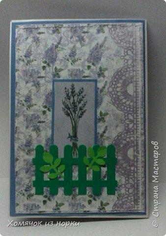 """Лидия Леонидовна (ЛиЛеКа http://stranamasterov.ru/user/7275 ) предложила сделать открытку в стиле """"Прованс"""". Ну и конечно мне захотелось её сделать..... И вот получилась такая нежная и очень красивая открыточка...  фото 3"""