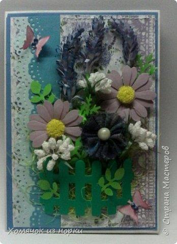 """Лидия Леонидовна (ЛиЛеКа http://stranamasterov.ru/user/7275 ) предложила сделать открытку в стиле """"Прованс"""". Ну и конечно мне захотелось её сделать..... И вот получилась такая нежная и очень красивая открыточка...  фото 1"""