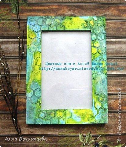Всем привет!!!!!!! Эта рамочка одна из самых любимых, размер для фото 10*15 см. Цвета бирюзовый, голубой, желтый. Текстурная паста, грунт, паста с хрустальными шариками. В блоге цвета ярче. фото 1