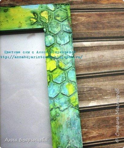 Всем привет!!!!!!! Эта рамочка одна из самых любимых, размер для фото 10*15 см. Цвета бирюзовый, голубой, желтый. Текстурная паста, грунт, паста с хрустальными шариками. В блоге цвета ярче. фото 2