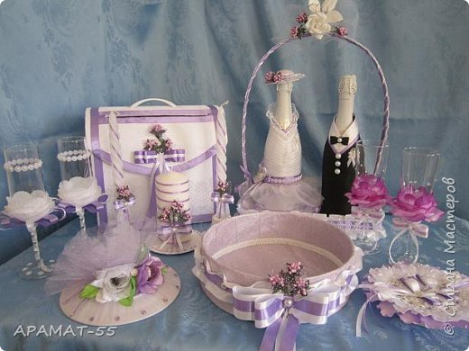 Здравствуйте!!! Сделала вот такой наборчик на свадьбу. Свадьба будет в сиреневых тонах.  фото 1