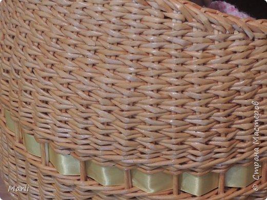Дно фанера 6,водная  морилка лиственница и мокко ,лента атласная и стропа для ручек, размер 70*40*18, плела на заказ  фото 7