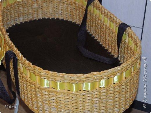 Дно фанера 6,водная  морилка лиственница и мокко ,лента атласная и стропа для ручек, размер 70*40*18, плела на заказ  фото 5