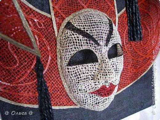 Теплого всем лета!!! Продолжаю мою любимую масочную-карнавальную  тему –  сегодня это «Джокер»!!!  Работа полностью выполнена из мешковины, немного шпагата, немного филиграни, немного фантазии))!!  фото 3