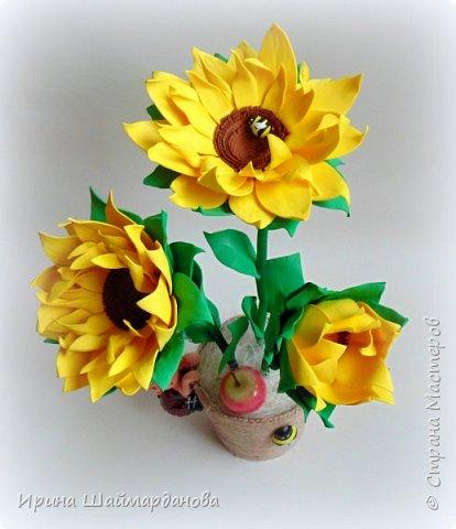 Еще один мой новенький подсолнух)) Цветы полностью ручной работы из фоамирана фото 1
